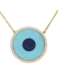 Jennifer Meyer - Turquoise Inlay And Lapis Center Eye Necklace With Diamonds - Lyst
