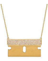 Established - Diamond Razor Blade Necklace - Lyst