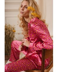 YOLKE Leopard Bubblegum Classic Silk Pyjama Set - Pink