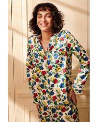 YOLKE Dakota Meadow Classic Silk Pyjama Set - Blue