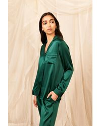 YOLKE Jade Classic Silk Pyjama Set - Green