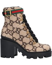 Gucci Trip Grosgrain-trimmed Logo-print Wool Ankle Boots - Natural