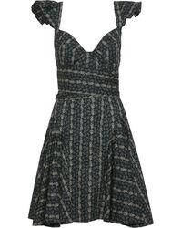 Petersyn Cate Flared Floral-print Cotton-poplin Mini Dress Black