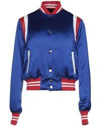 Amiri Leather-trimmed Silk-satin Bomber Jacket - Blue
