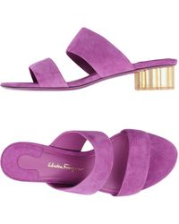 Ferragamo Belluno Flower-heel Suede Sandals - Purple
