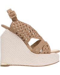 Paloma Barceló Sling Back Wedge Sandals - Natural
