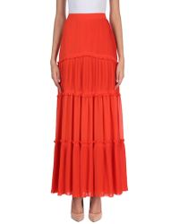 Tory Burch Tiered Pleated Crepe Maxi Skirt Bright Orange