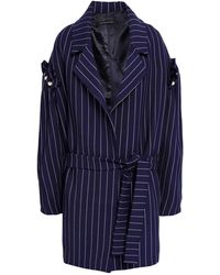 Mother Of Pearl Deon Faux Pearl-embellished Pinstriped Twill Coat Navy - Blue