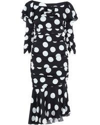 Dolce & Gabbana Off-the-shoulder Polka-dot Midi Dress - Black