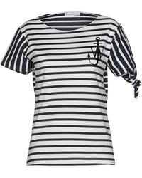 JW Anderson Breton Striped Logo Knot T-shirt In Navy And White - Blue