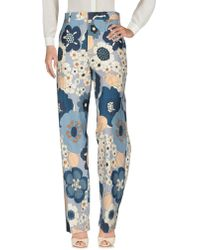 Chloé Printed Cotton Trousers - Blue