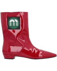Miu Miu Ankle Boots - Red
