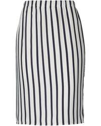 Blue Les Copains Knee Length Skirt - White