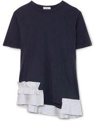 CLU Gingham Satin Ruffle-trimmed Cotton-jersey T-shirt - Blue