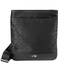 Lyst Armani Jeans Woven Printed Eco Leather Messenger Bag In Black