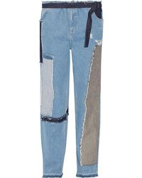 TOME - Patchwork Distressed High-rise Wide-leg Jeans - Lyst