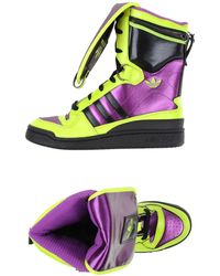 Jeremy Scott for adidas - Leather and Satin Ultra High-Top Trainers - Lyst