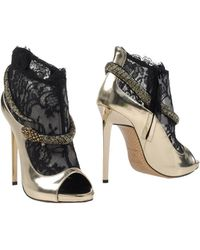 Roberto Cavalli Lace and Leather Ankle Boots - Black