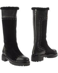 Alexander McQueen Studded Mid-Calf Shearling Fur-Lined Boot - Black