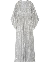 Elizabeth and James Raquel Metallic Fil Coupé Silk-blend Maxi Dress - Gray