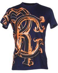 roberto cavalli t shirt short sleeves crewneck logo print in blue roberto cavalli t shirt lyst