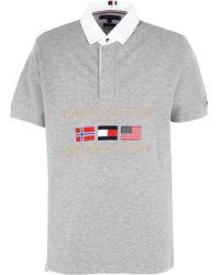 Tommy Hilfiger Poloshirt mit aufgestickten Flaggen - Grau
