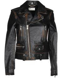 Saint Laurent Cropped Biker Jacket - Black