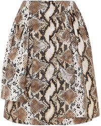 Pushbutton Knee Length Skirt - Natural