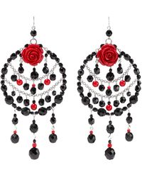 Ben-Amun Silver-tone, Bead And Resin Earrings Red