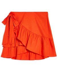 TOPSHOP Knee Length Skirt - Red