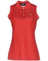 DSquared² - Signature Sleeveless Cotton Polo Shirt - Lyst