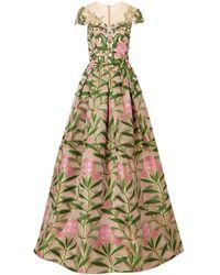 Reem Acra Langes Kleid - Grün