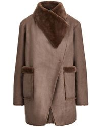 Lauren by Ralph Lauren Faux Shearling-trim Coat - Brown