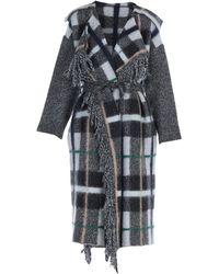 Stella McCartney Check Wool Coat - Grey