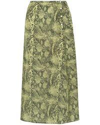 Sandy Liang Moody Snake-print Silk Crepe De Chine Midi Skirt - Green