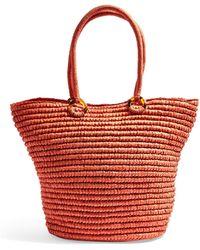 TOPSHOP Franka Straw Ring Tote Bag - Coral