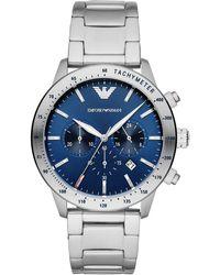 Emporio Armani Edelstahl Chronographenuhr - Blau