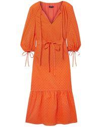 MDS Stripes 3/4 Length Dress - Orange