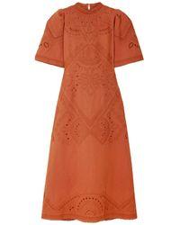 Sea 3/4 Length Dress - Orange