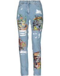 Jeremy Scott Los Exitos Print Cotton Denim Jeans - Blue