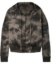 ATM Tie-dyed Crinkled Silk-charmeuse Hooded Top - Multicolour