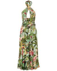 PATBO Paradise Ruffled Cutout Printed Stretch-jersey Dress - Green