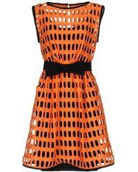 Moschino Macrame Open Lace Dress - Orange