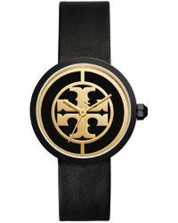 Tory Burch Reva Leather Watch - Black