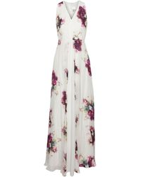 Mikael Aghal Floral-print Silk Crepe De Chine Gown White