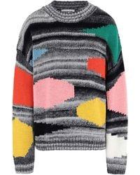 Essentiel Antwerp Vister Block Color Knit Sweater - Gray