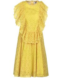 MSGM Ruffled Broderie Anglaise Cotton Mini Dress Yellow