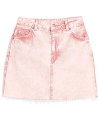 TOPSHOP Acid Wash Denim Skirt - Pink