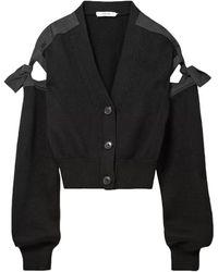 ADEAM Tie-detailed Cotton-blend Cardigan - Black