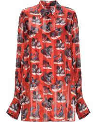 Carven Rooster Print Silk Blouse - Red